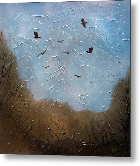 Landscape Metal Print featuring the painting The crows by Sergey Bezhinets