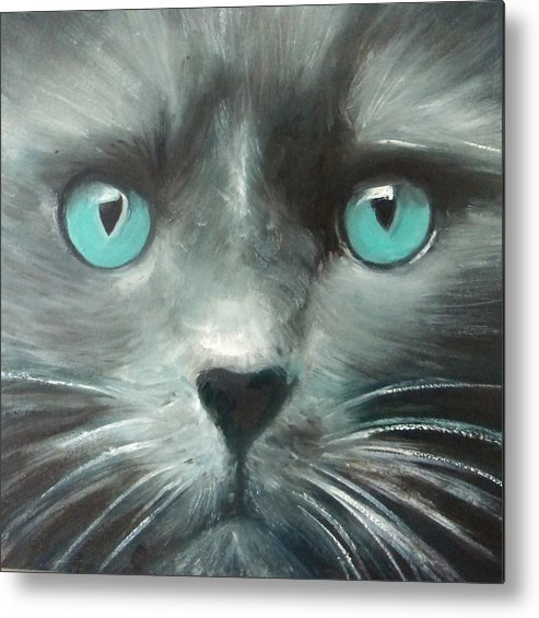 Cat Metal Print featuring the painting The Guardian II by Fiona Jack