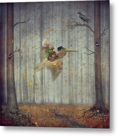Flowerbed Metal Print featuring the digital art The Little Boy And Brown Pelican Fly by Maroznc