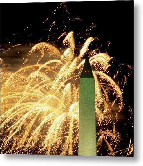 Firework Display Metal Print featuring the photograph The Washington Monument And Fireworks by Hisham Ibrahim