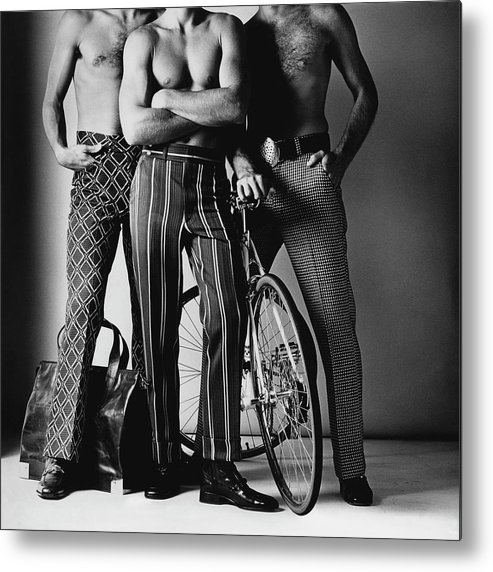 Fashion Metal Print featuring the photograph Three Male Models Wearing Patterned Trousers by Ken Haak