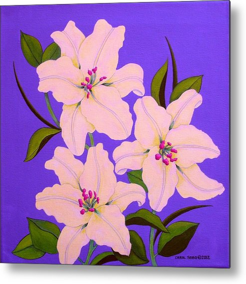 Lily Metal Print featuring the painting Three White Lilies by Carol Sabo