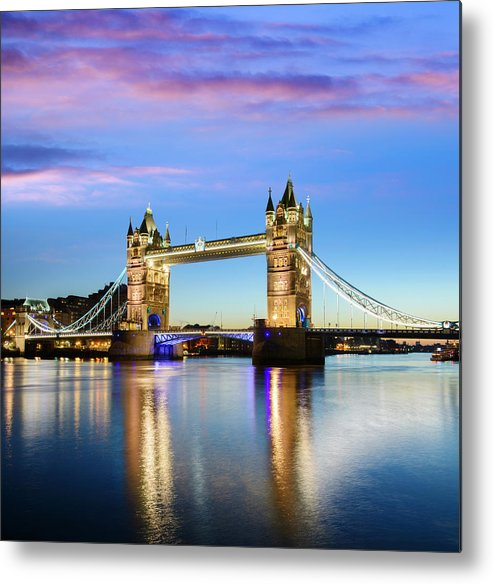 Downtown District Metal Print featuring the photograph Tower Bridge Located In London by Deejpilot