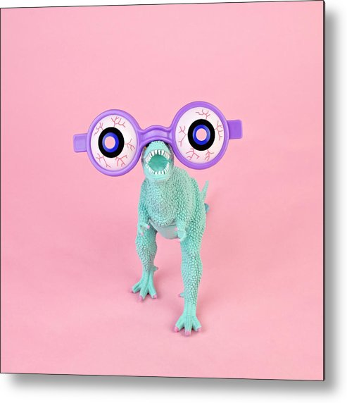 Purple Metal Print featuring the photograph Toy Dinosaur With Spooky Glasses by Juj Winn