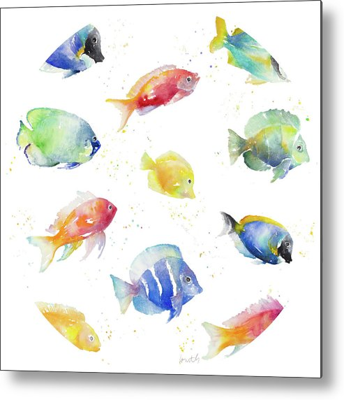 Tropical Metal Print featuring the painting Tropical Fish Round by Lanie Loreth