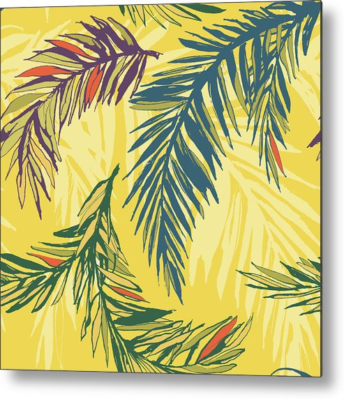 Tropical Rainforest Metal Print featuring the digital art Tropical Jungle Floral Seamless Pattern by Sv sunny