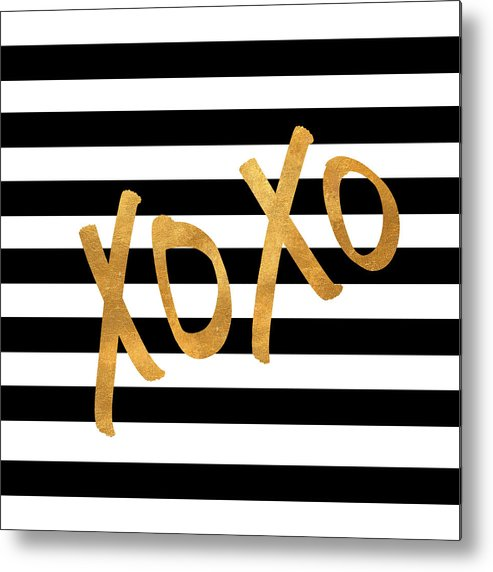 Valentines Metal Print featuring the digital art Valentines Stripes IIi by South Social Studio