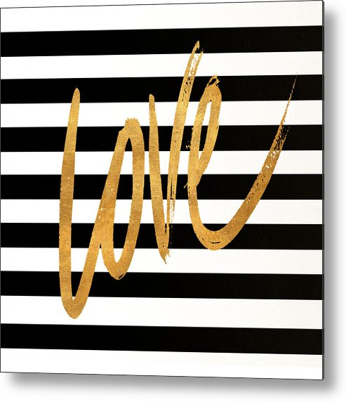 Valentines Metal Print featuring the digital art Valentines Stripes Iv by South Social Graphics