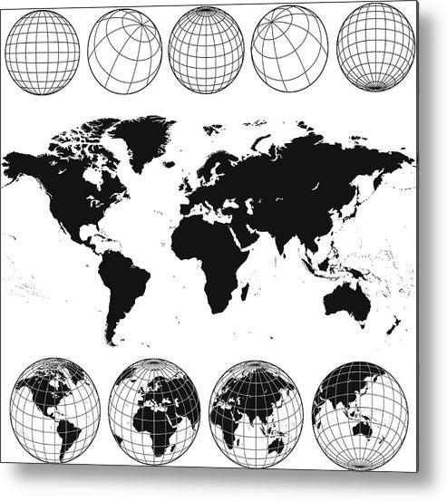 Globe Metal Print featuring the drawing Various views of the world as a globe, and on flat surface by Kathykonkle
