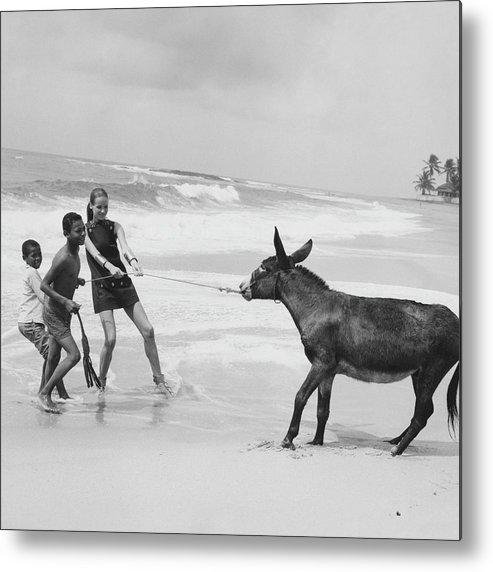 Animal Metal Print featuring the photograph Veruschka Von Lehndorff And Two Children Pulling by Franco Rubartelli