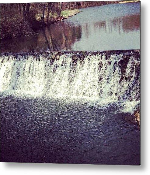 Beautiful Metal Print featuring the photograph #waterfall #newyork #water #nature by Amber Campanaro
