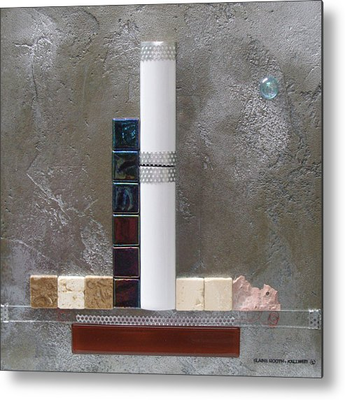 Assemblage Metal Print featuring the relief White Tower by Elaine Booth-Kallweit