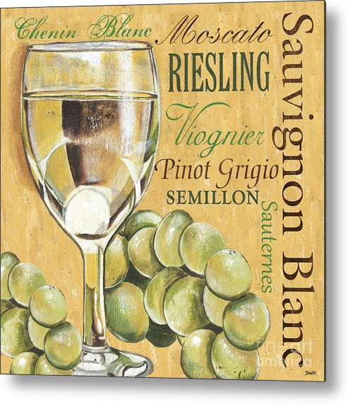 Wine Metal Print featuring the painting White Wine Text by Debbie DeWitt