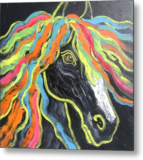 Isabelle Metal Print featuring the painting Wild horse by Isabelle Gervais