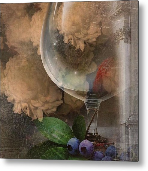 Wine Glass Metal Print featuring the photograph Wine Glass And Flowers by Georgiana Romanovna