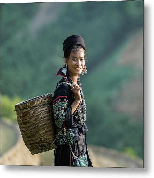 Farm Worker Metal Print featuring the photograph Woman Of Black Hmong Hill Tribe Next To by Martin Puddy
