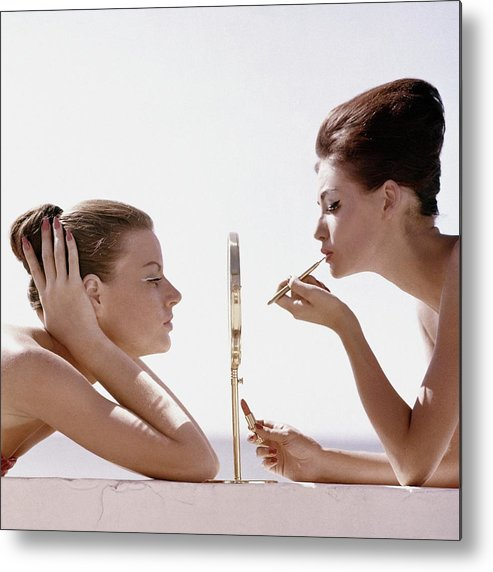 Beauty Metal Print featuring the photograph Women With A Mirror by Leombruno-Bodi