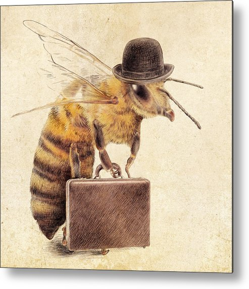 Bee Metal Print featuring the drawing Worker Bee by Eric Fan