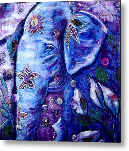 Elephant Painting Metal Print featuring the painting You Are Love by Goddess Rockstar