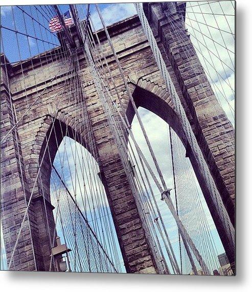 Summer Metal Print featuring the photograph Brooklyn Bridge by Randy Lemoine