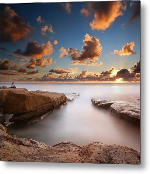 Metal Print featuring the photograph Long Exposure Sunset At A San Diego by Larry Marshall