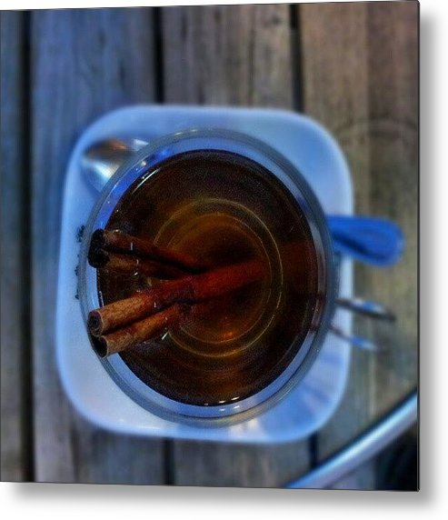 Apple Metal Print featuring the photograph #apple #juice #tea #coffee #cinamon by Abdelrahman Alawwad