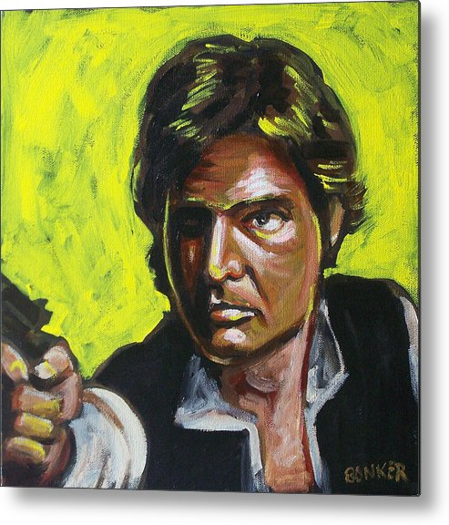 Han Solo Played By Harrison Ford In Star Wars Metal Print featuring the painting Han Solo by Buffalo Bonker