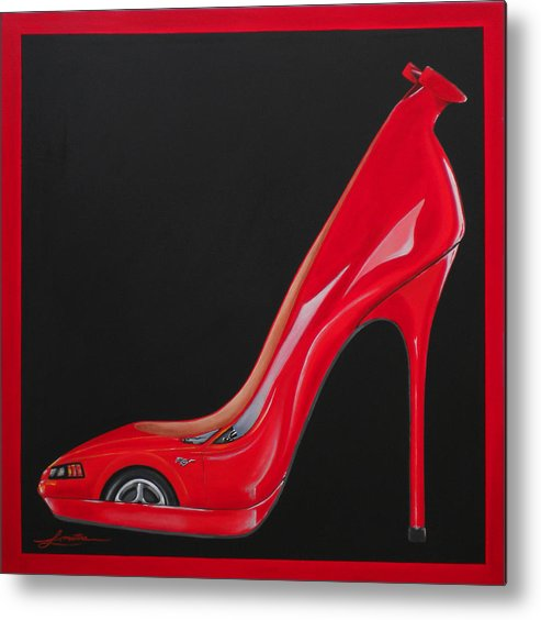 Red Metal Print featuring the painting Horse Choo by Lynn Masters