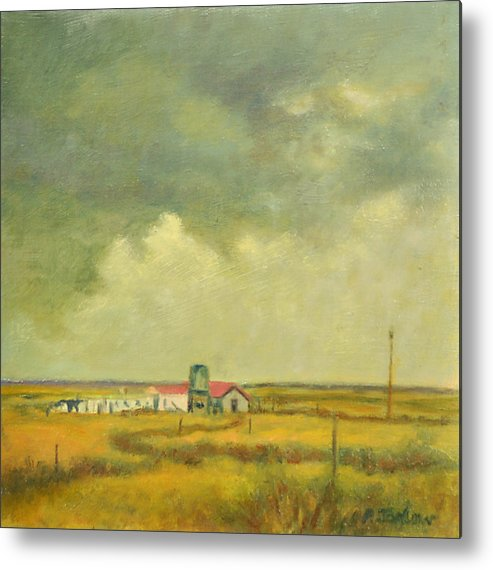 Landscape Metal Print featuring the painting Hunkered Down by Phyllis Tarlow