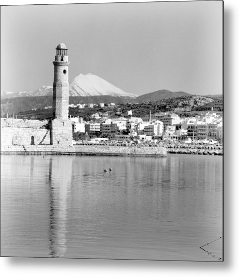 Lighthouse Metal Print featuring the photograph Lighthouse and psiloritis by Paul Cowan