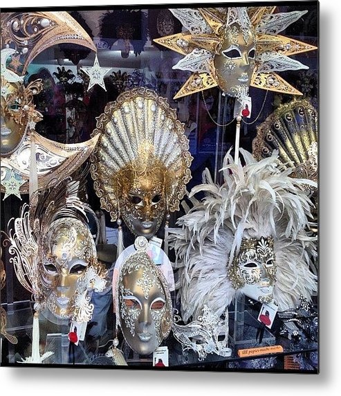 Venice Metal Print featuring the photograph Masks in Venice Italy by Irina Moskalev
