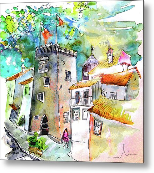 Portugal Metal Print featuring the painting Tower in Ponte de Lima in Portugal by Miki De Goodaboom