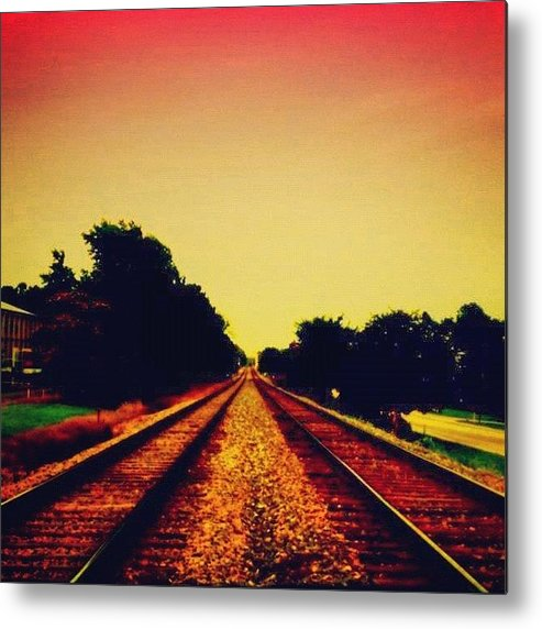 Danger Metal Print featuring the photograph Train Tracks by Katie Williams