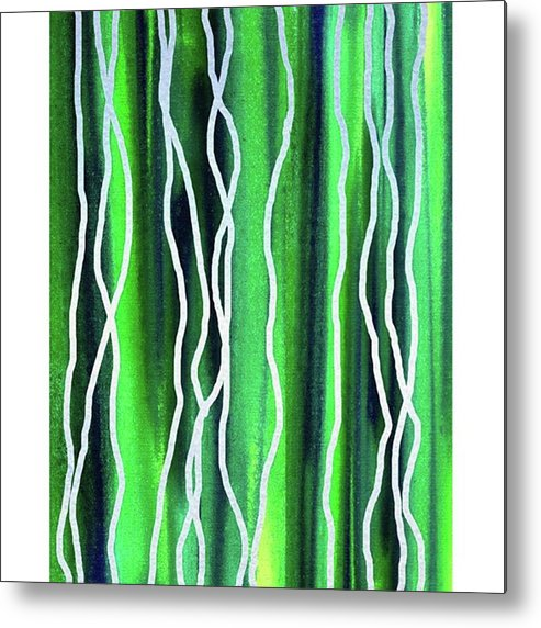 Abstract Line Metal Print featuring the painting Abstract Lines On Green by Irina Sztukowski