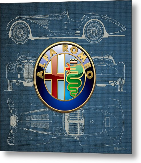 �wheels Of Fortune� By Serge Averbukh Metal Print featuring the photograph Alfa Romeo 3 D Badge over 1938 Alfa Romeo 8 C 2900 B Vintage Blueprint by Serge Averbukh