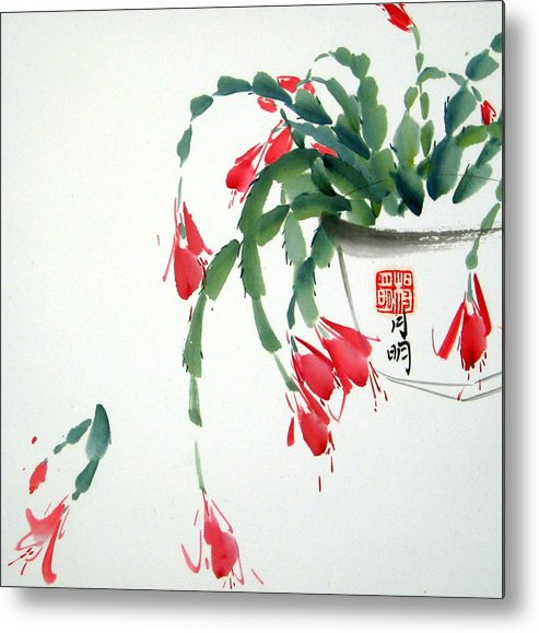 Freestyle Chinese Painting Metal Print featuring the painting Aroma by Ming Yeung