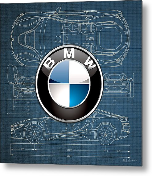 �wheels Of Fortune� By Serge Averbukh Metal Print featuring the photograph B M W 3 D Badge over B M W i8 Blueprint by Serge Averbukh