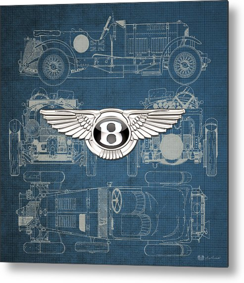 �wheels Of Fortune� By Serge Averbukh Metal Print featuring the photograph Bentley - 3 D Badge over 1930 Bentley 4.5 Liter Blower Vintage Blueprint by Serge Averbukh