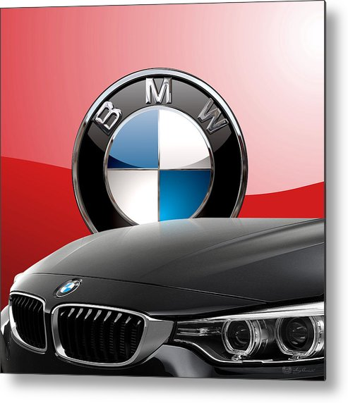 �auto Badges� Collection By Serge Averbukh Metal Print featuring the photograph Black B M W - Front Grill Ornament And 3 D Badge On Red by Serge Averbukh