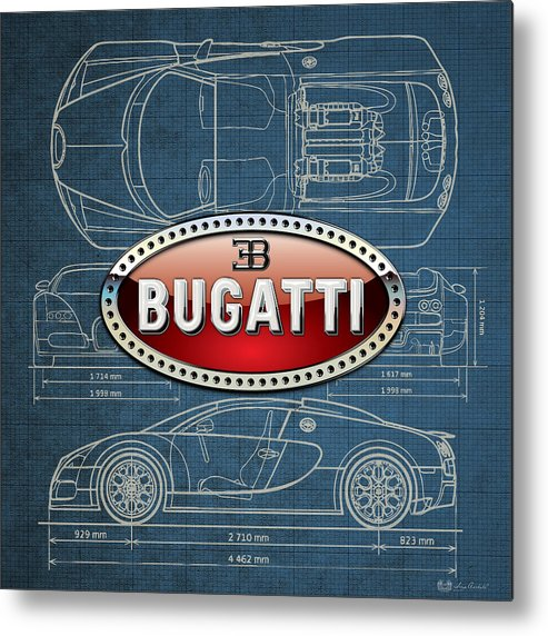 �wheels Of Fortune� By Serge Averbukh Metal Print featuring the photograph Bugatti 3 D Badge over Bugatti Veyron Grand Sport Blueprint by Serge Averbukh