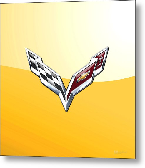 �wheels Of Fortune� Collection By Serge Averbukh Metal Print featuring the photograph Chevrolet Corvette 3D Badge on Yellow by Serge Averbukh