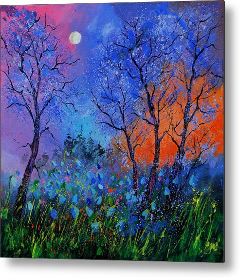Landscape Metal Print featuring the painting Magic wood by Pol Ledent