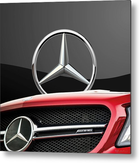 'auto Badges' By Serge Averbukh Metal Print featuring the photograph Red Mercedes - Front Grill Ornament and 3 D Badge on Black by Serge Averbukh