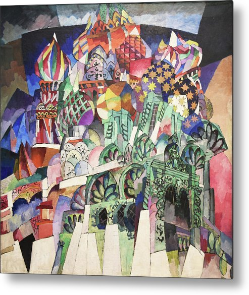 Russian Cubism Metal Print featuring the painting St. Basil's Cathedral by Aristarkh Lentulov