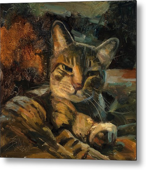 Cats Metal Print featuring the painting Tabby Nap by Billie Colson