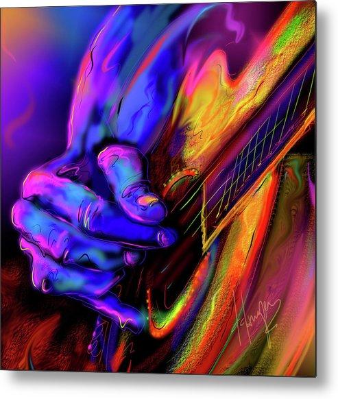 Guitar Metal Print featuring the painting Unplugged by DC Langer