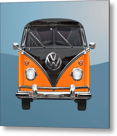 'volkswagen Type 2' Collection By Serge Averbukh Metal Print featuring the photograph Volkswagen Type 2 - Black and Orange Volkswagen T 1 Samba Bus over Blue by Serge Averbukh