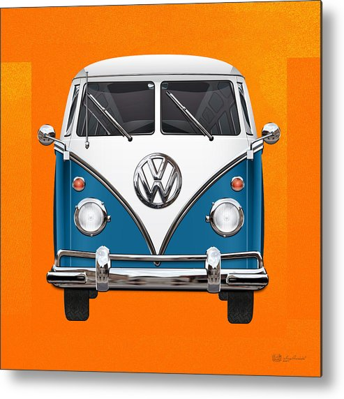 'volkswagen Type 2' Collection By Serge Averbukh Metal Print featuring the photograph Volkswagen Type 2 - Blue and White Volkswagen T 1 Samba Bus over Orange Canvas by Serge Averbukh