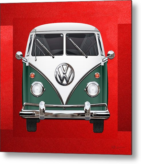 'volkswagen Type 2' Collection By Serge Averbukh Metal Print featuring the photograph Volkswagen Type 2 - Green and White Volkswagen T 1 Samba Bus over Red Canvas by Serge Averbukh