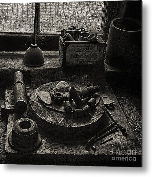 East Broad Top Metal Print featuring the photograph Machine Shop Window Still Life 2 by ELDavis Photography